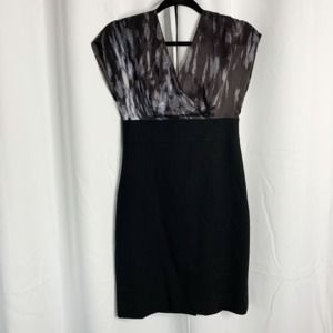 NEW BR black 2 watercolor fitted career dress